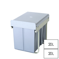 40L Twin Slide Out Concealed Waste Bin - for a 400mm Cupboard