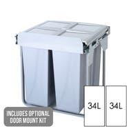 Domestique 68L Twin Slide Out Concealed Waste Bin - 600mm - with Optional Door Mount Kit