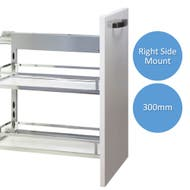 right side mounted underbench pull out storage