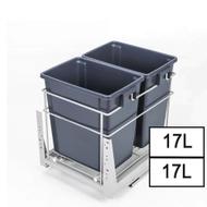 ELITE Twin Pull Out Kitchen Waste Bin - 2x17L - Fits 400mm Cabinet