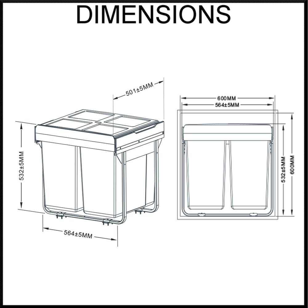 twin concealed waste bin dimension diagram