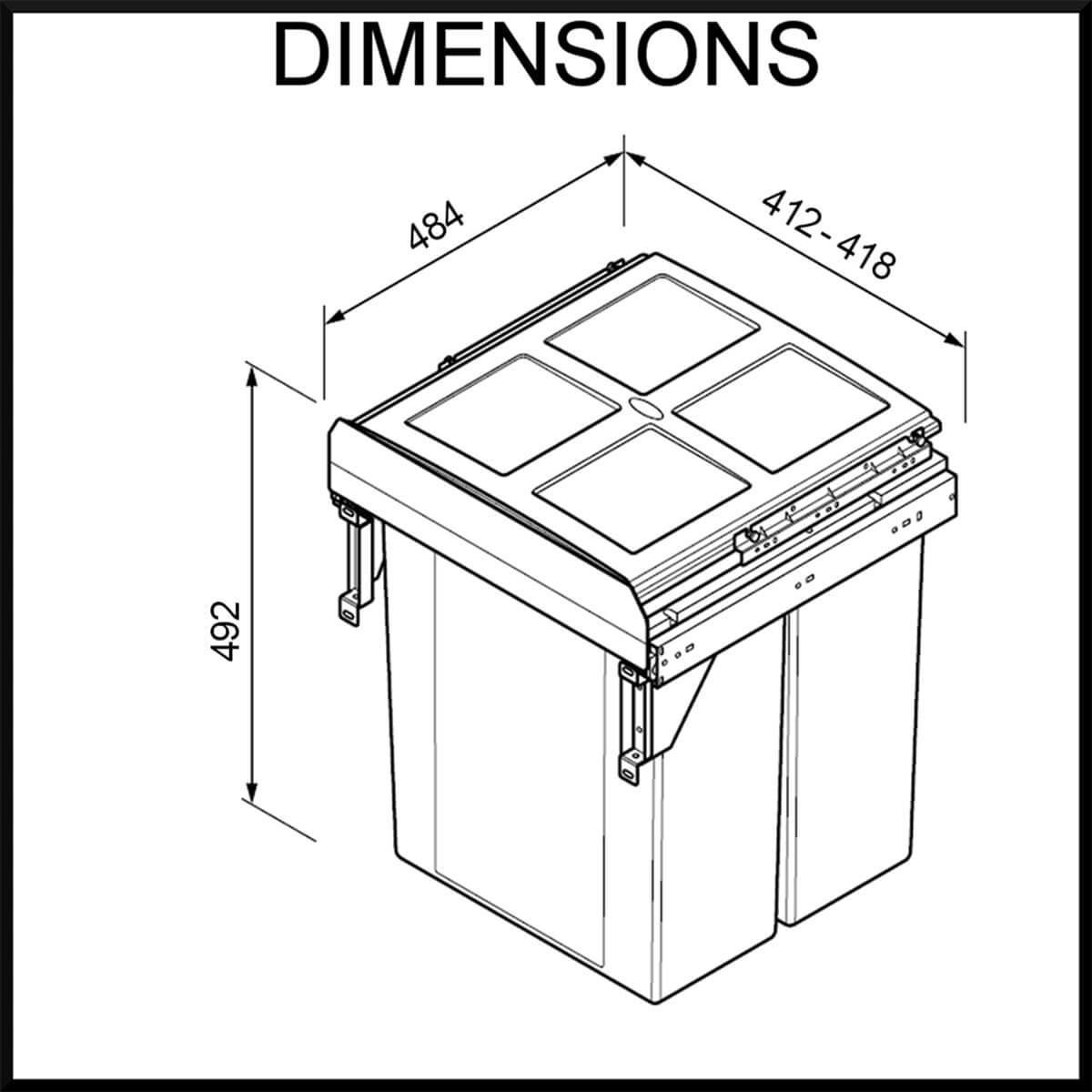 Side Mounted 450mm cabinet - Pull-out Rubbish Bin